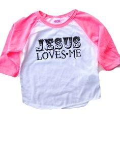 13fd02f29 Jesus Loves Me Raglan - Pink Sleeve Kids Shirts, Indie Brands, Jesus Loves  Me