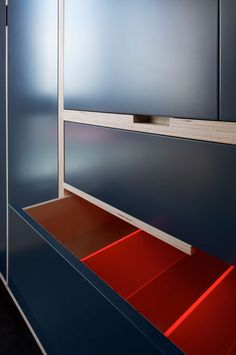Bedroom Wardrobe - Birch Ply - Blue with red interior