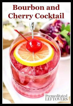 Beat the winter blahs with this Bourbon and Cherry Cocktail! It's a refreshing recipe with Bourbon, Maraschino cherries, and a splash of citrus. Summer Drinks, Cocktail Drinks, Fun Drinks, Cocktail Recipes, Cocktails, Cocktail Parties, Alcoholic Beverages, Mixed Drinks, Easy Drink Recipes