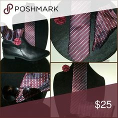Men's Collection 3 piece ensemble,  tie,  hanky and lapel flower material is polyester. NWOT Accessories Ties