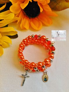 Rosary Charm Bracelet/Wrap Around/Beads/Red Orange/Crucifix Silver/Catholic/Handmade  MWB-R#0131 Small Wrist by Justmyhands1Rosaries on Etsy