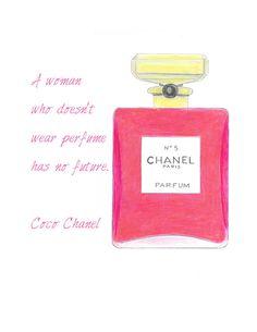 Perfume Pink Bottle Fashion Illustration Print Chanel by Zoia