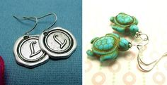 Personalized Initial Earrings / Adorable Turtle Earrings | Jane