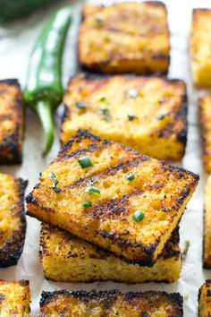 Grilled Cornbread w/Jalapeno Honey Butter - Soft, irresistible homemade cornbread squares are slathered up with a kickin' jalapeno honey butter and then quickly cooked on the grill to crisp, buttery heaven! | wholeandheavenlyoven.com