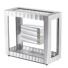 NOVA of California Sparkling glass and hand brushed aluminum are joined to create Nova's awe inspiring Magic Cube Console Table. The silver cube sits among clear glass, making it appear as if it is floating in mid-air. You will really think it's magic. Console Table Living Room, High Point Market, All Modern, Clear Glass, Cube, Nova, Magic, Spring 2015, California