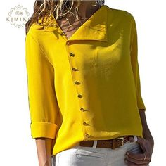Summer 2018 Fashion Button Long Sleeve Yellow White Shirt Womens Tops And Blouses Female Tunic Office Chemise For Feminina FemmeLong Sleeve Shift Buttoned Casual Solid Blouses – Miss ArtyDamen Langarm-Button-Down-lose beiläufige grundlegende Bluse Hippie Hose, Mode Hippie, Fall Shirts, Chiffon Shirt, Chiffon Blouses, Sleeveless Shirt, Mode Inspiration, Blouses For Women, Ladies Blouses