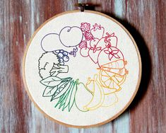 Fruit & Veggie Wheel Embroidered Hoop Art-Healthy by ZellyaDesigns