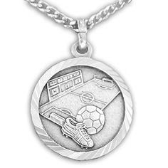 Sterling Silver Soccer Sports Medal with Saint Christopher Back 34 Inch *** Check out the image by visiting the link.Note:It is affiliate link to Amazon.