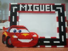 Custom photo frame Cars hama perler beads (10X15) by Andres Moreno Rodriguez