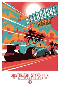 Australian Grand Prix 2017 art by Chris Rathbone