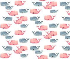 Whale Pod! by taraput  Fabric, Wallpaper, and Wrapping paper