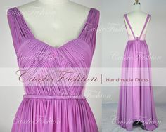 Custom Handmade Floor Length Straps Vneck Chiffon by CassieFashion, $129.00 **LOVE LOVE LOVE LOVE**