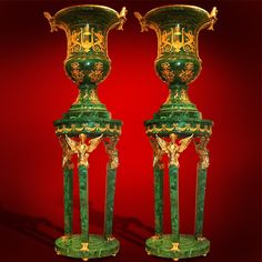 One Museum Set consisitng of Russian Malachite and Dorre Bronze Palace vases and Pedestals.