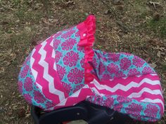 Medallion Chevron Stripe hot pink baby car seat by pinkbandit2, $43.00