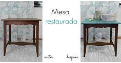 Mesa vintage restaurada en color turquesa