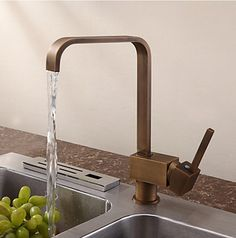Antique Inspired Solid Brass Kitchen Tap - Antique Brass Finish T0718A