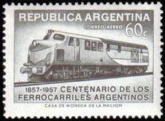 Argentina; Series: Centenary of Argentine railroads. Catalog codes: Michel AR 660. Stamp Number AR C67 Yvert et Tellier AR PA47