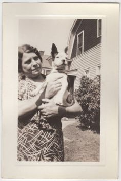 Lady Holding Dog Boston Terrier Old Vintage Photo Snapshot G4945 | eBay