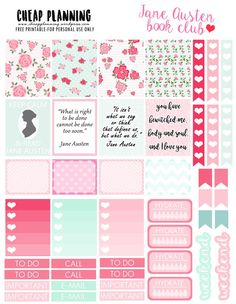 FREE Planner Stickers with Jane Austen quotes on http://cheapplanning.wordpress.com