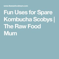 Fun Uses for Spare Kombucha Scobys | The Raw Food Mum