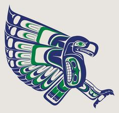 Local Seattle artist creates an amazing Seahawks logo, drawing on PNW native art (link to artist in comments)