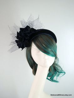 Navy Blue Velvet Half Hat Bandeau Fascinator Flower Net Wedding Race Carnival Party Special Occasion Melbourne Cup Kentucky Derby Millinery Silk Roses, Pink Silk, Bridesmaid Accessories, Bridal Accessories, Navy Blue Decor, Spring Racing Carnival, Leather Headbands, Fascinator Headband, Metal Comb