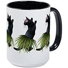 Black Cat Mug - Hula Cat Mugs - Coffee Mug, Large 15 oz. White Coffee Cup