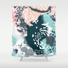 August - Abstract modern painting in bold colors for trendy feminine style Shower Curtain by CharlotteWinter - $68.00