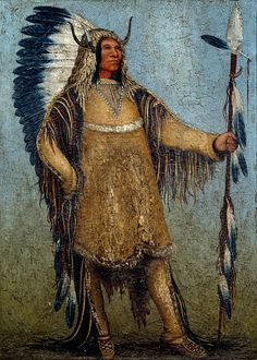 Full length portrait of a Native American chief Painting by school of George Catlin 19th century Musee du Nouveau Monde La Rochelle France