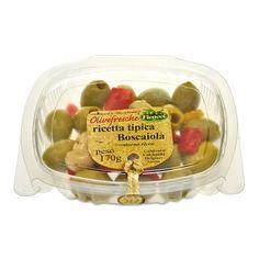 IT   OLIVE VERDI DEN. ALLA BOSCAIOLA: olive verdi denocciolate halchidiki, fungi, cipolla, aglio peperoni rossi e gialli e origano.  EN   BOSCAIOLA RECIPE: PITTED OLIVES, MUSHROOMS, PEPPERS, SPICES: giant pitted halkidiki olives with mushrooms, red and yellow sweet peppers, garlic, onions and oregano.