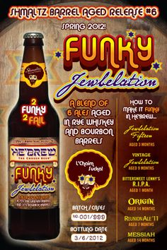 He'brew Funky Jewbelation from Shmaltz Brewing Craft Beer Labels, Jewish Humor, Rye Whiskey, Types Of Craft, Brewing Company, Whiskey Bottle, Ale, Internet, Favorite Recipes