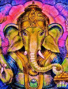 """Lotus Ganesha"" painting from Om Gam Ganapataye Namaha, Om Namah Shivaya, Lord Ganesha, Lord Shiva, Ganesh Jayanti, Elefante Hindu, Ganesha Painting, Indian Folk Art, Yoga Art"