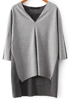 Jersey suelto cuello pico-gris 14.17