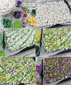 Break tradition this year by making and serving a festive green, gold and purple King Cake Roll for Mardi Gras. This fun dessert is filled with cream cheese fluff and each slice reveals colorful stripes of cake. Mardi Gras Appetizers, Mardi Gras Desserts, Mardi Gras Food, Mardi Gras Party, Mardi Gras Centerpieces, Mardi Gras Decorations, Mardi Gras Outfits, Mardi Gras Costumes, Madi Gras