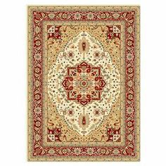 Loomed rug with a traditional floral motif.    Product: RugConstruction Material: PolypropyleneColor: Ivory and red Note: Please be aware that actual colors may vary from those shown on your screen. Accent rugs may also not show the entire pattern that the corresponding area rugs have.Cleaning and Care: Professional cleaning recommended