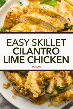 Easy Skillet Cilantro Lime Chicken can be made in minutes for an almost effortless dinner. Pair it with rice and vegetables or a healthy salad if you like! Cheap Clean Eating, Clean Eating Snacks, Low Carb Appetizers, Appetizer Recipes, Appetizer Ideas, Healthy Dinner Recipes, Cooking Recipes, Healthy Food, Skinny Recipes