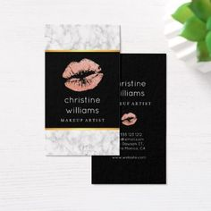 Makeup Artist Marble Light Pink Glitter Lips Business Card - marble gifts style stylish nature unique personalize