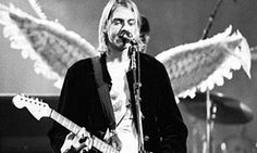 Archive photograph of Kurt Cobain performing onstage