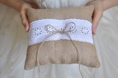 Burlap ring pillow Burlap Ring Bearer Pillow by NatalysWeddingArt, $14.00