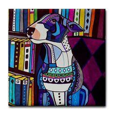 4x4 Miniature Bull Terrier Art Tile Ceramic by HeatherGallerArt, $20.00