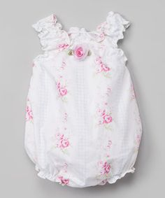 Another great find on #zulily! White Gingham Floral Bubble Bodysuit - Infant #zulilyfinds