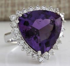 ESTATE 10.85CTW NATURAL AMETHYST AND DIAMOND RING IN 14K SOLID WHITE GOLD #Cocktail