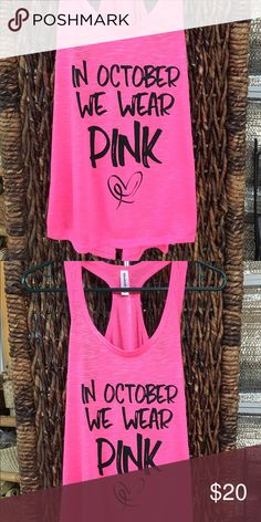 Breast Cancer Awareness Tank Top Sizes available: S - M - L - XL. A beautiful way to express the need for breast cancer awareness. As a survivor I'll wear mine with pride.  Profits will be donated to a children's program. To care and help them when a parent is newly diagnosed with breast cancer. Auntie Mel's Tops Tank Tops