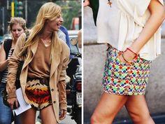 Patterned mini skirts