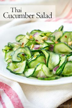 Side Dish Recipes 173388654391391263 - This Thai cucumber salad is a refreshing and crisp salad with cucumbers and cilantro in a fresh dressing of rice vinegar and sesame oil. It is a perfect summer side dish! Source by CCuisiniere Cucumber Salad Vinegar, Asian Cucumber Salad, Cucumber Recipes, Recipes With Cucumbers, Recipes With Rice Vinegar, Cucumber Dressing, Thai Side Dishes, Vegetable Side Dishes, Summer Side Dishes