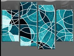 multi-panel canvas paintings | ... ABSTRACT CANVAS WALL ART PICTURE SPLIT 4 PIECE MULTI PANEL 100CM wide