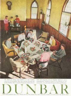 Vintage Furniture Ads of the 1950s . Dunbar Furniture Ad Fashion Chair Sewing Circle (1959)