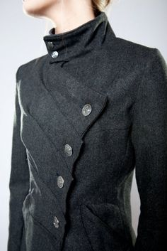 Muse Coat in Gray by Suzabelle (designer Suzanne Jaberg), @ Le Train Bleu, via notcouture.notcot.org