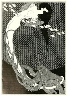 Jugendstil illustration by Julius Klinger (Austrian). This untitled piece is from Klinger's B&W work featured in Deutsche Kunst und Dekoration, 1907 Art Et Illustration, Illustrations, Charles Rennie Mackintosh, Sirens, Le Kraken, Art Nouveau, Victorian Vampire, Motif Art Deco, Tarot