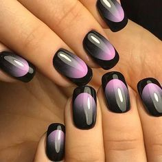 Stunning glossy gradient with black tips. Would love to try this. #simplynails